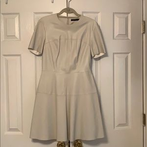 Faux Leather Cream Stitched Cream Dress